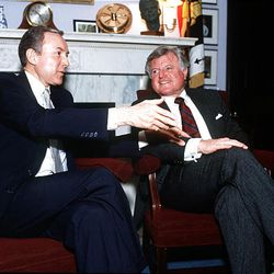 Sen. Orrin Hatch, left, laughs with Sen. Ted Kennedy during an interview with the Deseret News in January 1990.