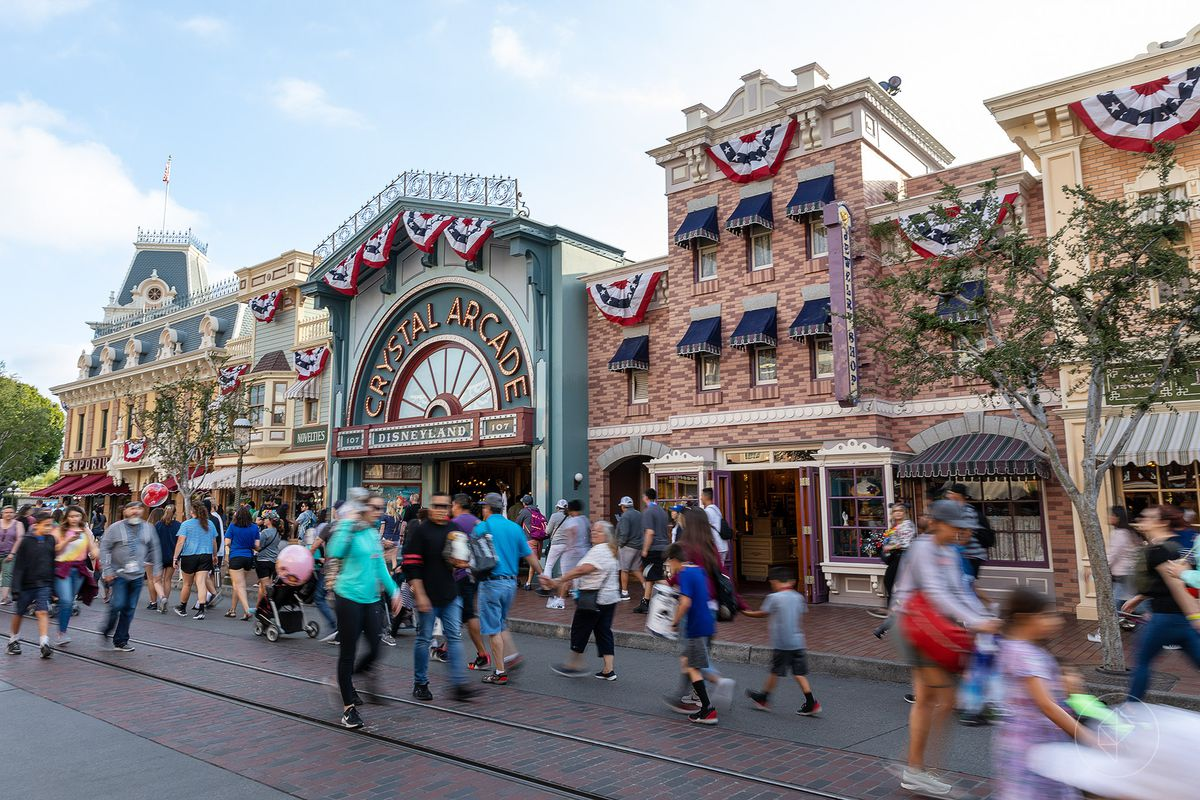 A view of Main Street, USA with crowds