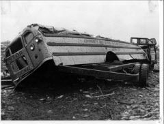 School bus destroyed by the tornado near Belvidere High School on April 21, 1967.