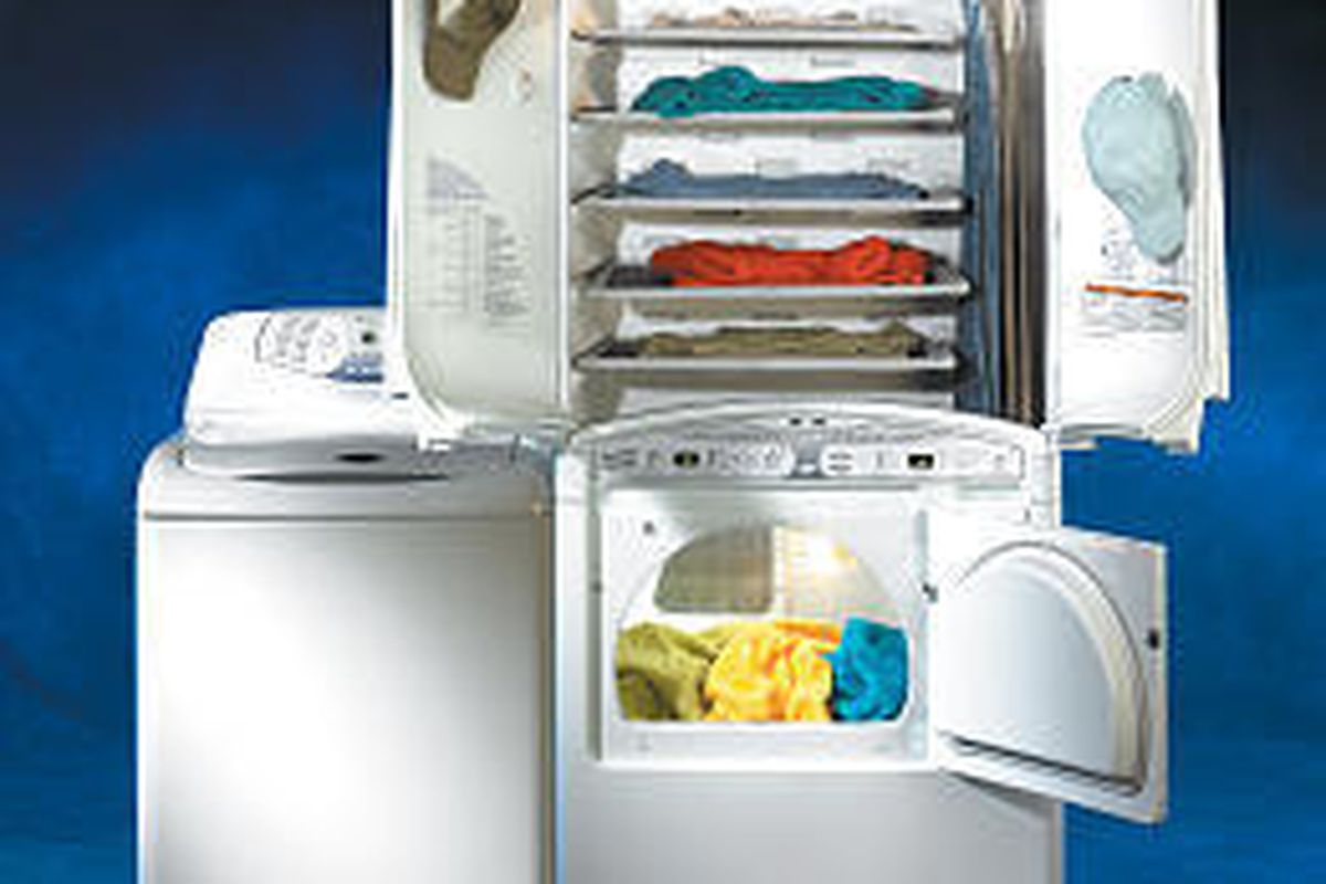 Maytag's Neptune Drying Center ($1,200) is a dryer with a cabinet on top that blows warm air past clothes hung inside.