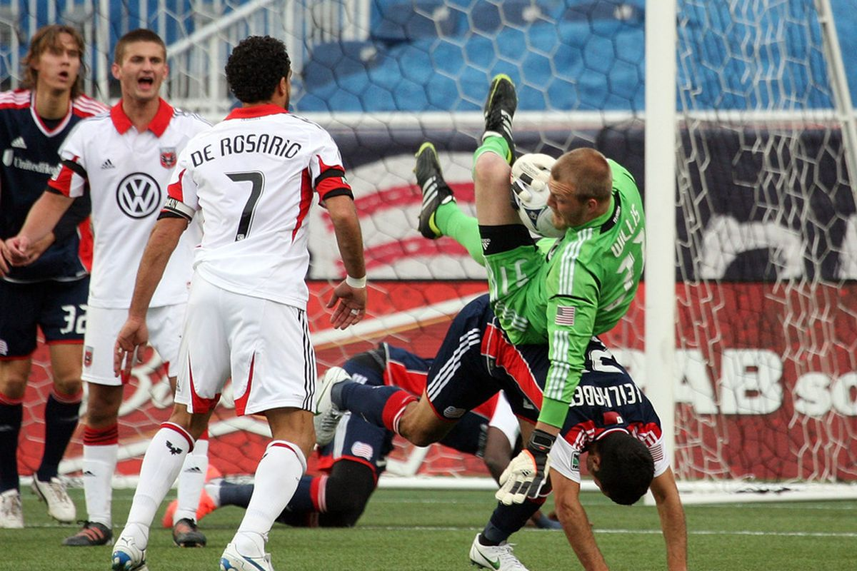 FOXBORO, MA - APRIL 14:  Goalkeeper Joe Willis #31 of the DC United makes a save against the New England Revolution in the second half at Gillette Stadium April 14, 2012 in Foxboro, Massachusetts. (Photo by Gail Oskin/Getty Images)