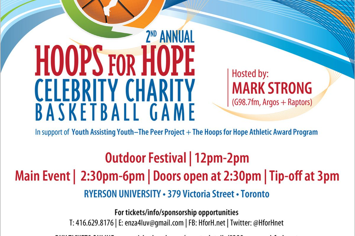 Like the flyer being too big to fit here, this Hoops for Hope event will be huge.  All for a good cause too.  If you're in the Toronto area, this would be a great event to check out this weekend.