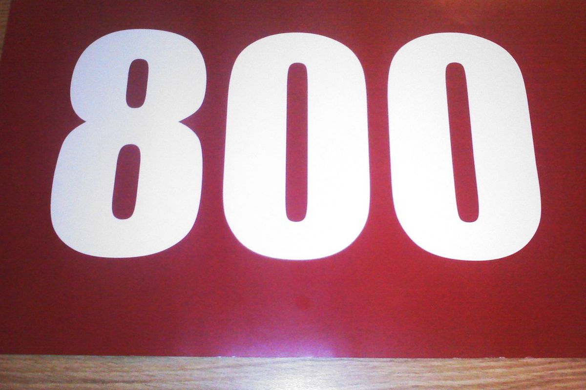 <em>A souvenir passed out during Stanford Cardinal coach Tara VanDerveer's 800th win. </em>