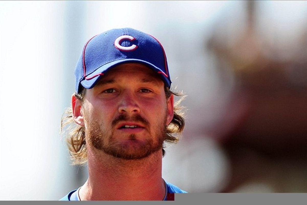 Chicago Cubs pitcher Travis Wood during a spring training game. Credit: Jennifer Hilderbrand-US PRESSWIRE