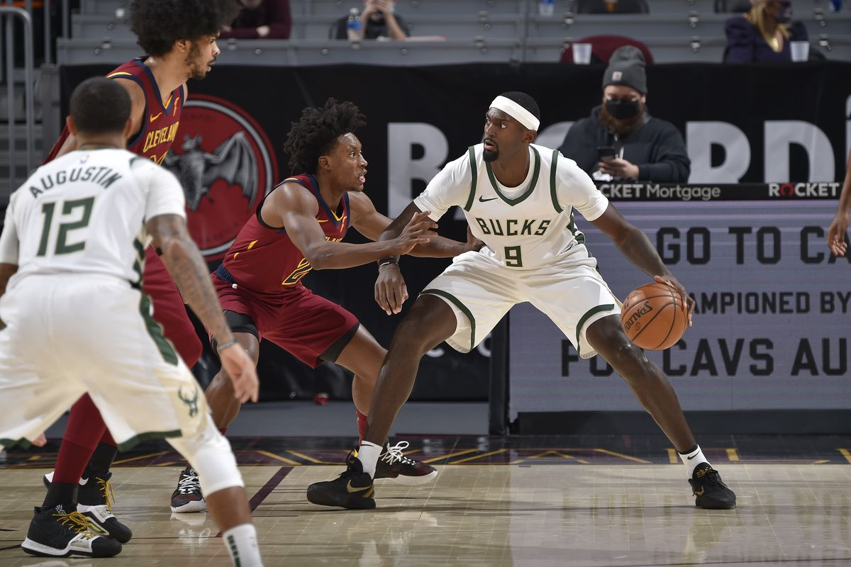 Bobby Portis #9 of the Milwaukee Bucks handles the ball during the game against the Cleveland Cavaliers on February 5, 2021 at Rocket Mortgage FieldHouse in Cleveland, Ohio.