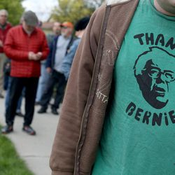 """People wait in line to attend the """"Come Together and Fight Back"""" tour with Vermont Sen. Bernie Sanders and Democratic National Committee Chairman Tom Perez at the Rail Event Center in Salt Lake City on Friday, April 21, 2017. The tour is part of the process of creating a Democratic Party that is strong and active in all 50 states, and a party that focuses on grass-roots activism and the needs of working families."""