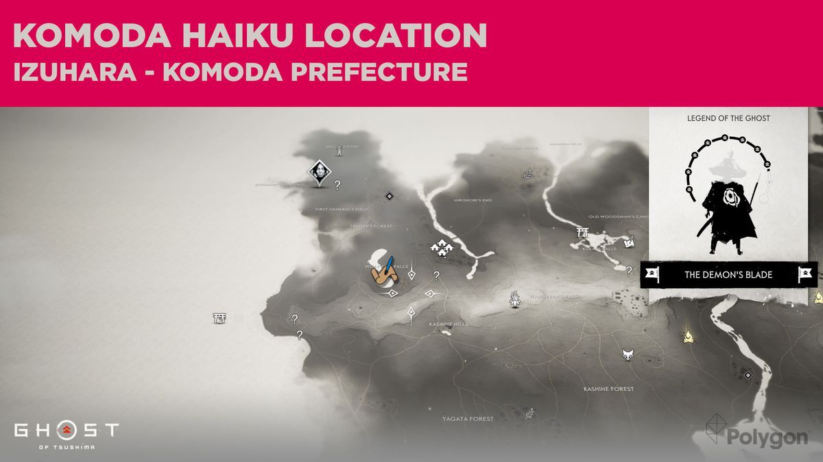 The Komoda haiku location in Ghost of Tsushima