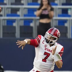 Utah quarterback Cameron Rising (7) throws a pass during the second half of an NCAA college football game against San Diego State Saturday, Sept. 18, 2021, in Carson, Calif.