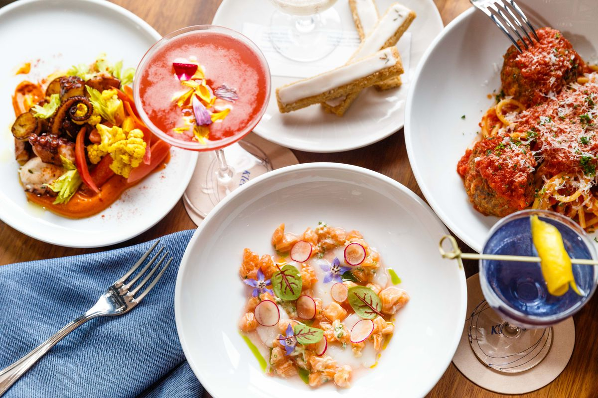 Dishes include grilled octopus, spaghetti and meatballs, and scallop and salmon crudo
