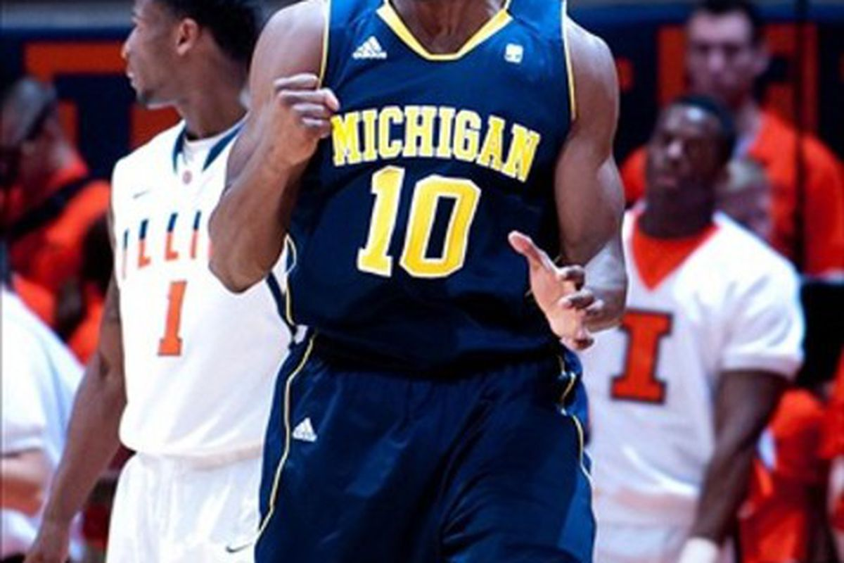 Mar 1, 2012; Champaign, IL, USA; Michigan Wolverines guard Tim Hardaway Jr. (10) reacts after an Illinois Fighting Illini turnover during the second half at Assembly Hall. Michigan won 72-61. Mandatory Credit: Bradley Leeb-US PRESSWIRE