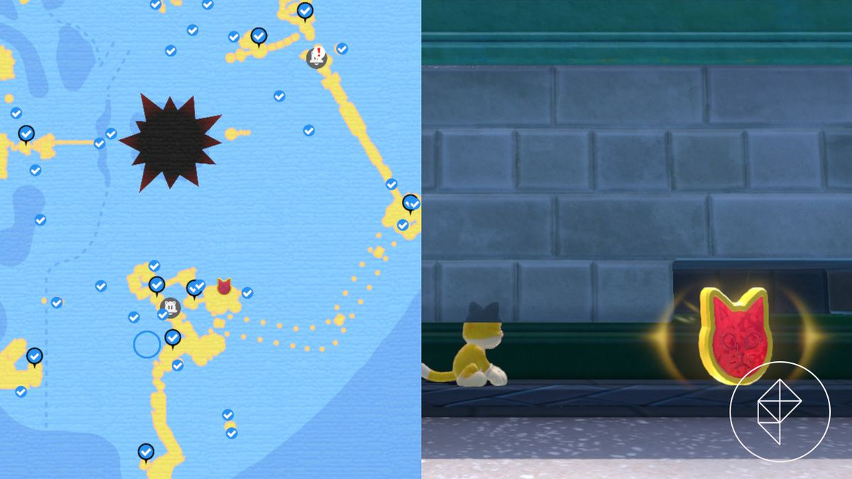 A map showing where to find a Cat Shine Shard behind a brick wall
