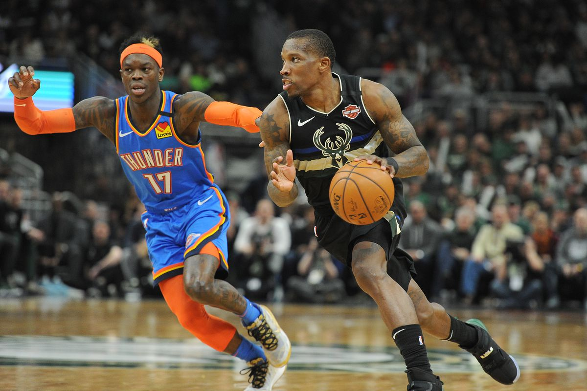 Milwaukee Bucks guard Eric Bledsoe drives to the basket against Oklahoma City Thunder guard Dennis Schroder in the second half at Fiserv Forum. Milwaukee Bucks 133 Oklahoma City Thunder 86.
