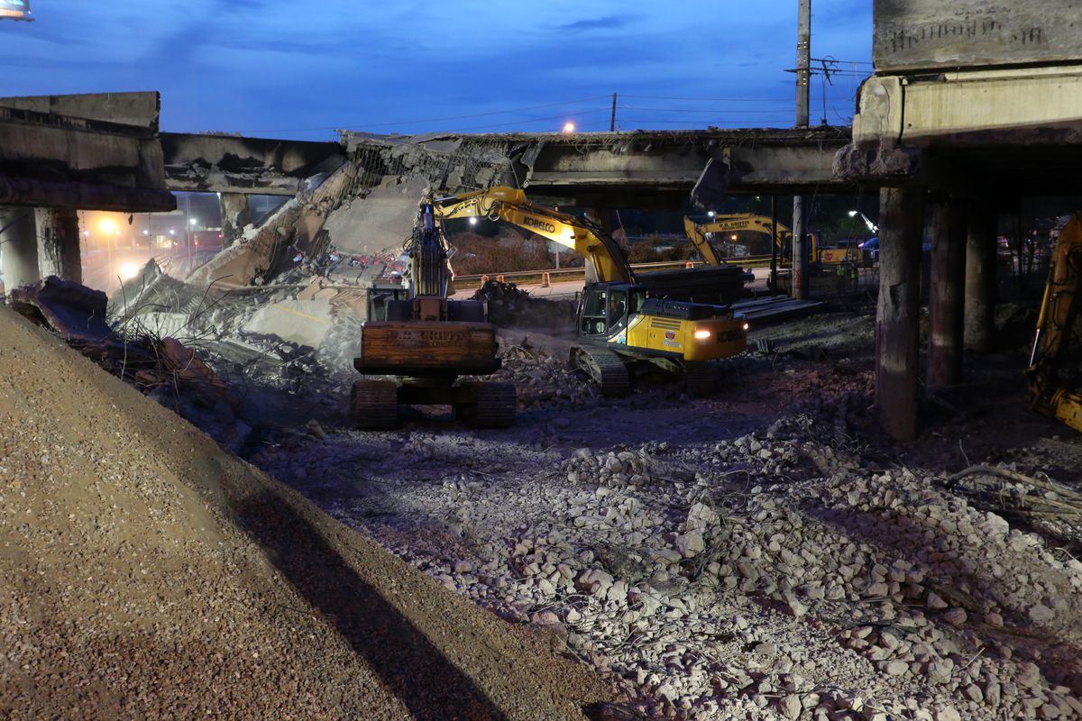 Southbound lanes of I-85 being demolished after a collapse in Atlanta last week.