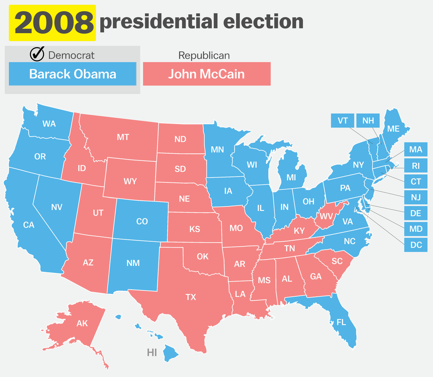 Us Map Electoral Votes 2008 How your state voted in 2016, compared to 15 prior elections   Vox