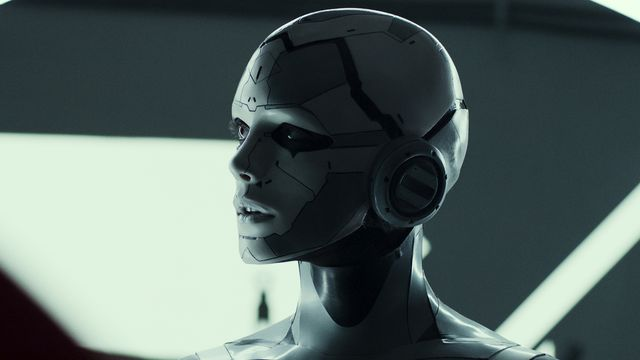 Stacy Martin as the incomplete AI and robot companion J3 in Archive.