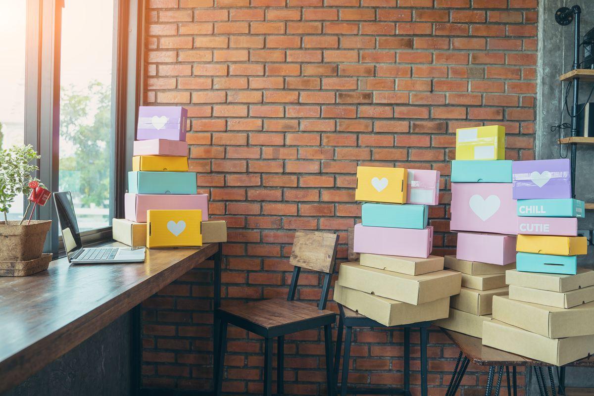 E-commerce boxes on a desk.