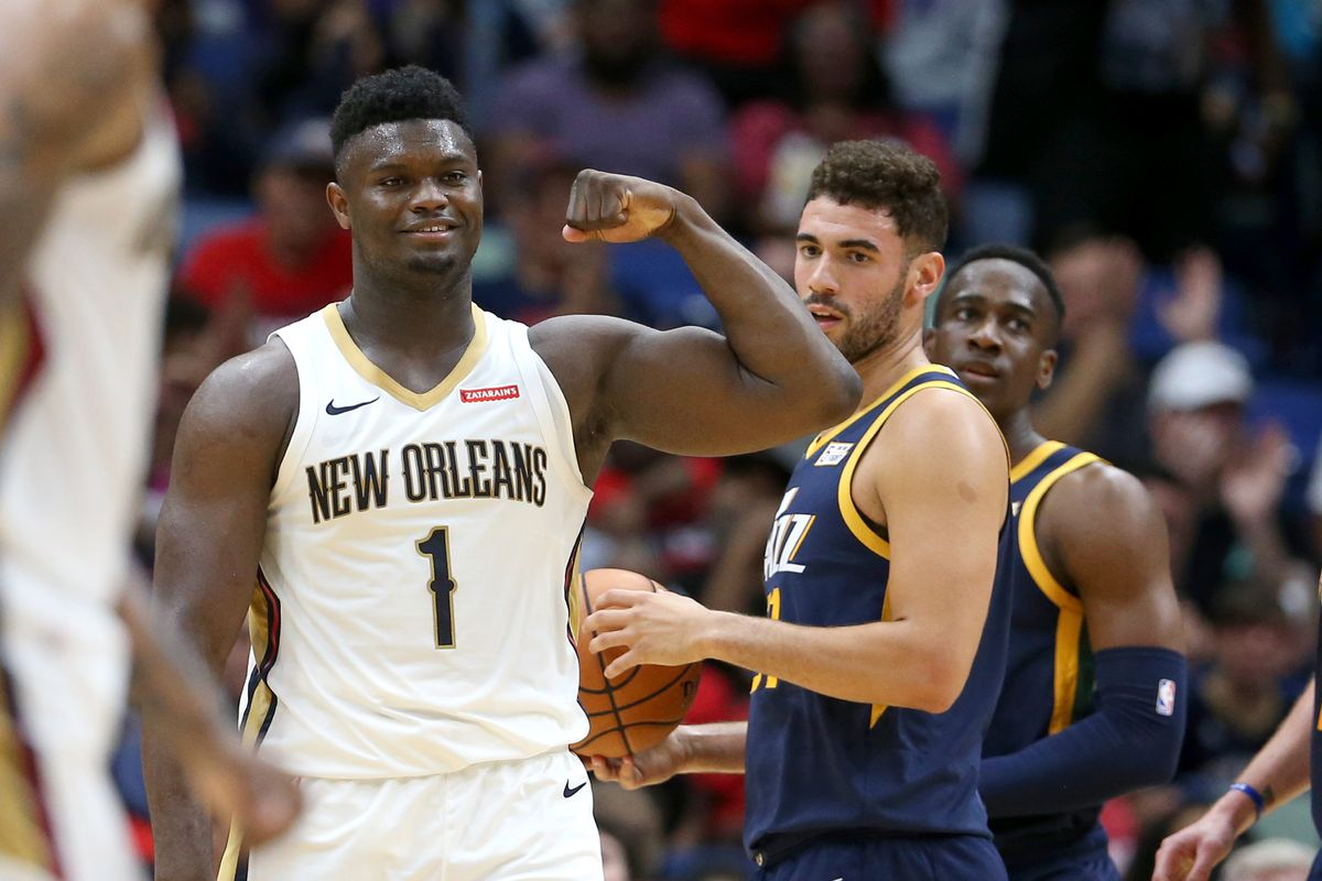 New Orleans Pelicans forward Zion Williamson gestures after making a basket in the second half against the Utah Jazz at the Smoothie King Center.
