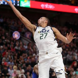 Utah Jazz center Rudy Gobert (27) dunks the ball during a basketball game against the New York Knicks at the Vivint Smart Home Arena in Salt Lake City on Friday, Jan. 19, 2018.