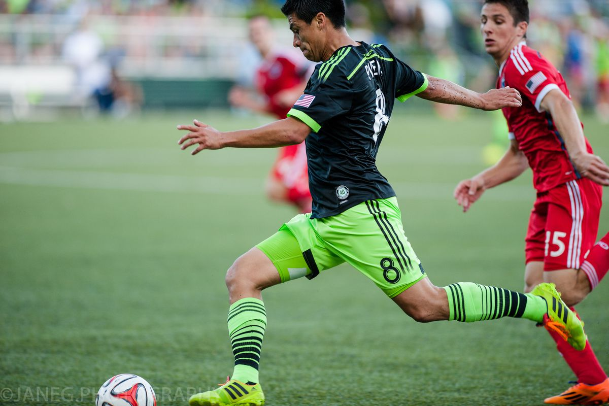 Gonzalo Pineda was dominant in the midfield for the Sounders in the U.S. Open Cup on June 24.