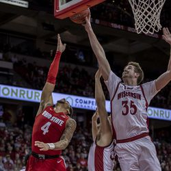 Nate Reuvers with the blocked shot.
