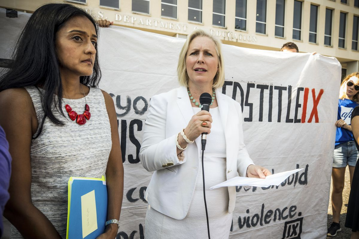 Kirsten Gillibrand (D-NY) speaks at a rally for survivors of sexual assault,  outside the Department of Education, ahead of a series of meetings that ...