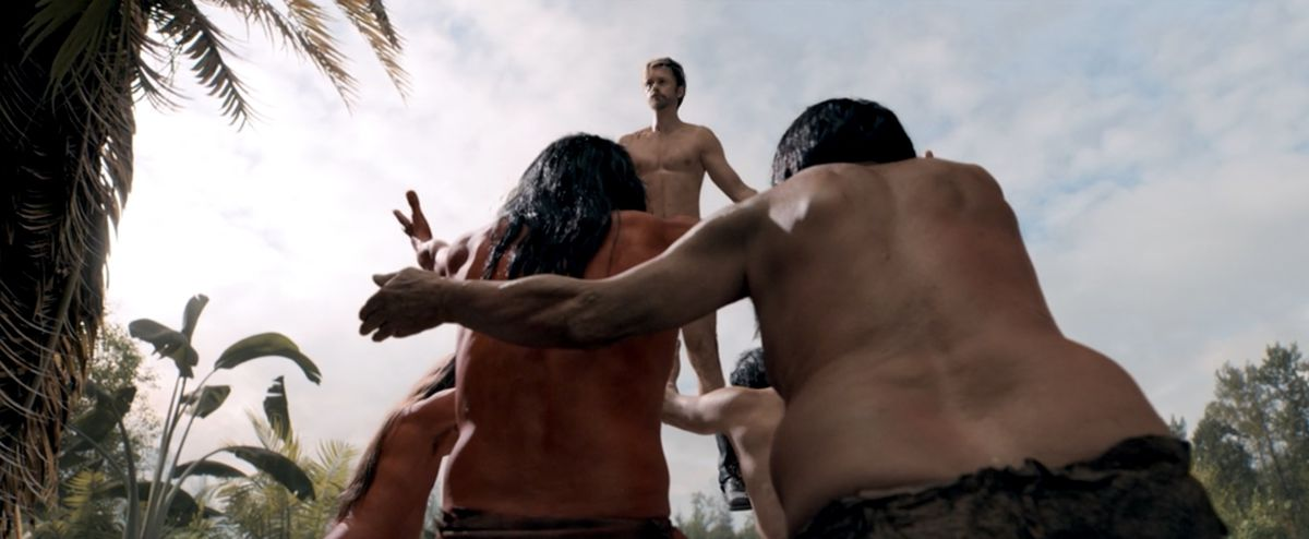 Flagg levitates in front of island tribe members in The Stand finale