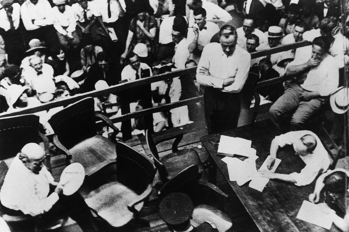 The Scopes trial, seen from above.