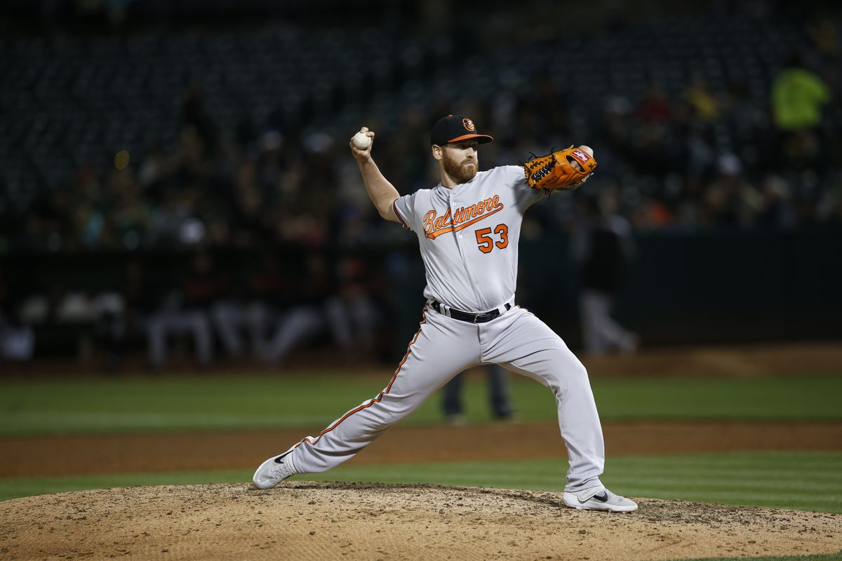 Dan Straily of the Baltimore Orioles pitches during the game against the Oakland Athletics at the Oakland-Alameda County Coliseum on June 18, 2019 in Oakland, California.