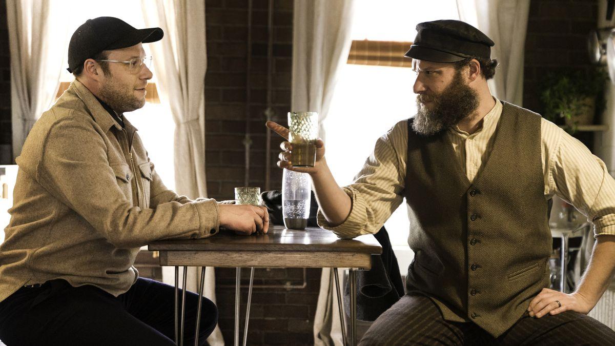 Beardless Seth Rogen faces beardy Seth Rogen in a dual role in American Pickle