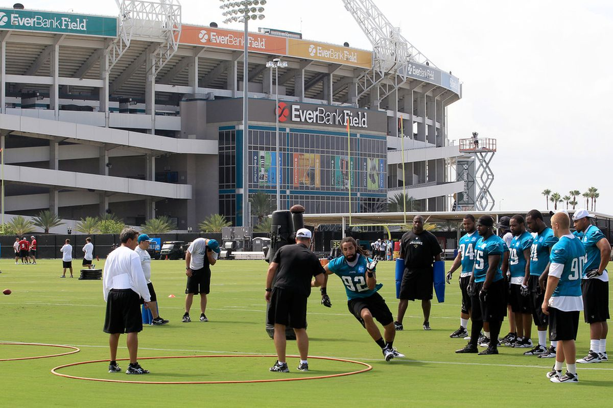 JACKSONVILLE, FL - JULY 28:  The Jacksonville Jaguars take part in training camp at Florida Blue Health and Wellness practice fields on July 28, 2011 in Jacksonville, Florida.  (Photo by Sam Greenwood/Getty Images)