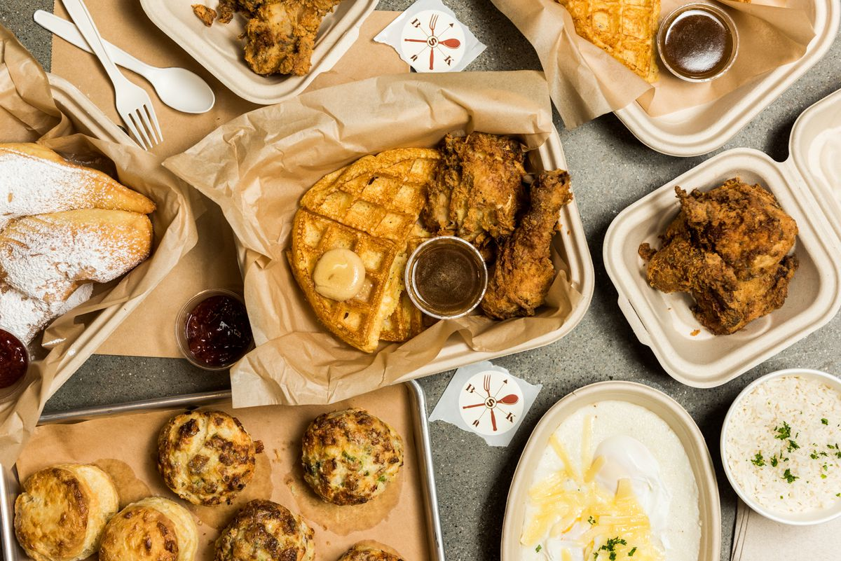A spread of food at Brown Sugar Kitchen