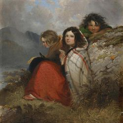 """This image, provided by Quinnipiac University, of an 1847 oil on canvas painting by Daniel MacDonald titled """"Irish Peasant Children,"""" is among the artwork on display in Ireland's Great Hunger Museum on the school's campus in Hamden, Conn.  School officials said the museum, which will open on Oct. 11, 2012, has the world's largest collection of visual art, artifacts and printed materials related to the famine from 1845-52, when blight destroyed virtually all of Ireland's potato crops."""