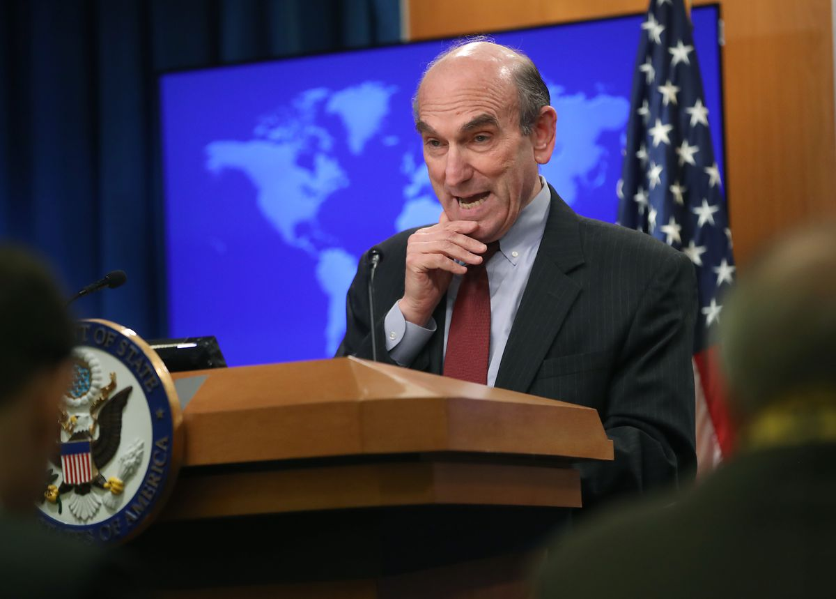 US Special Representative for Venezuela Elliott Abrams briefs the media on the situation in the country on March 8, 2019 in Washington, DC.