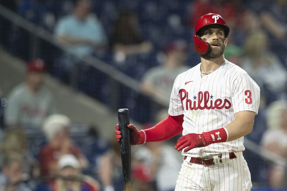 Bryce Harper #3 of the Philadelphia Phillies looks on against the Boston Red Sox at Citizens Bank Park on May 22, 2021 in Philadelphia, Pennsylvania. The Red Sox defeated the Phillies 4-3.