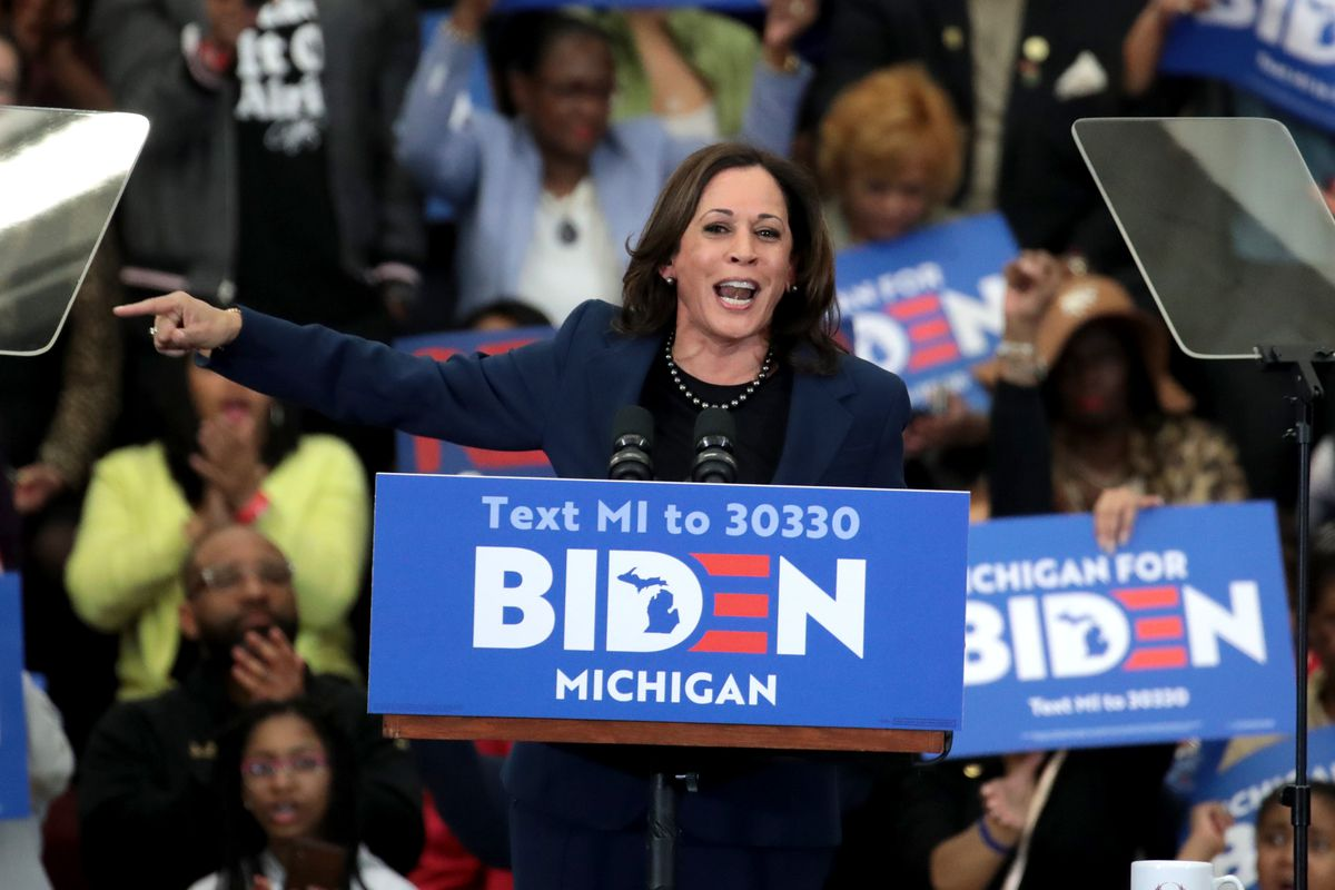 Sen. Kamala Harris introduces Democratic presidential candidate former Vice President Joe Biden at a campaign rally at Renaissance High School on March 09, 2020 in Detroit, Michigan. Michigan will hold its primary election tomorrow.