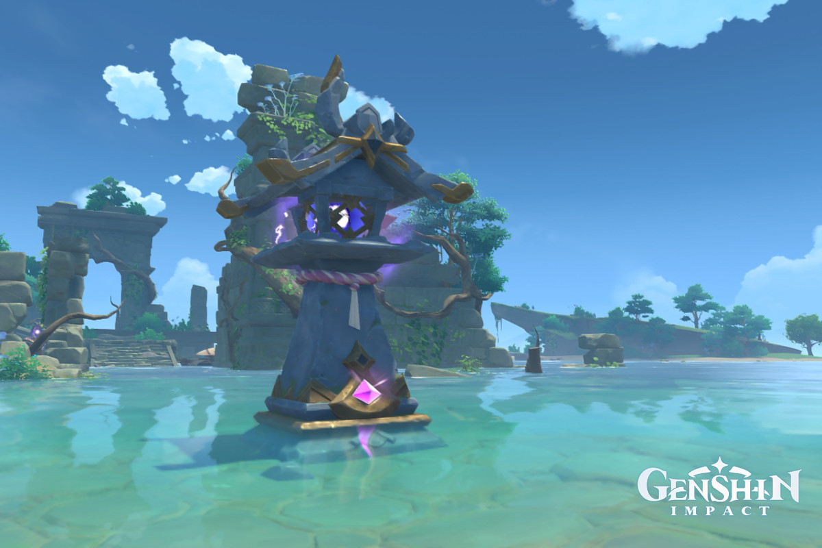 An Electro shrine sitting in watery ruins