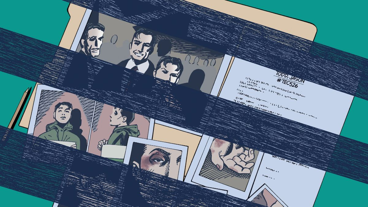 A social services case file on Jason Todd, the second Robin, in Gotham Knights #43, DC Comics (2003).