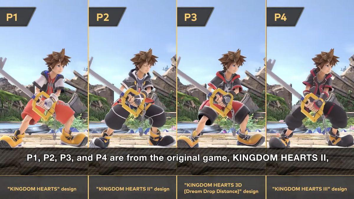 Sora's P1 through P4 costumes in Super Smash Bros. Ultimate