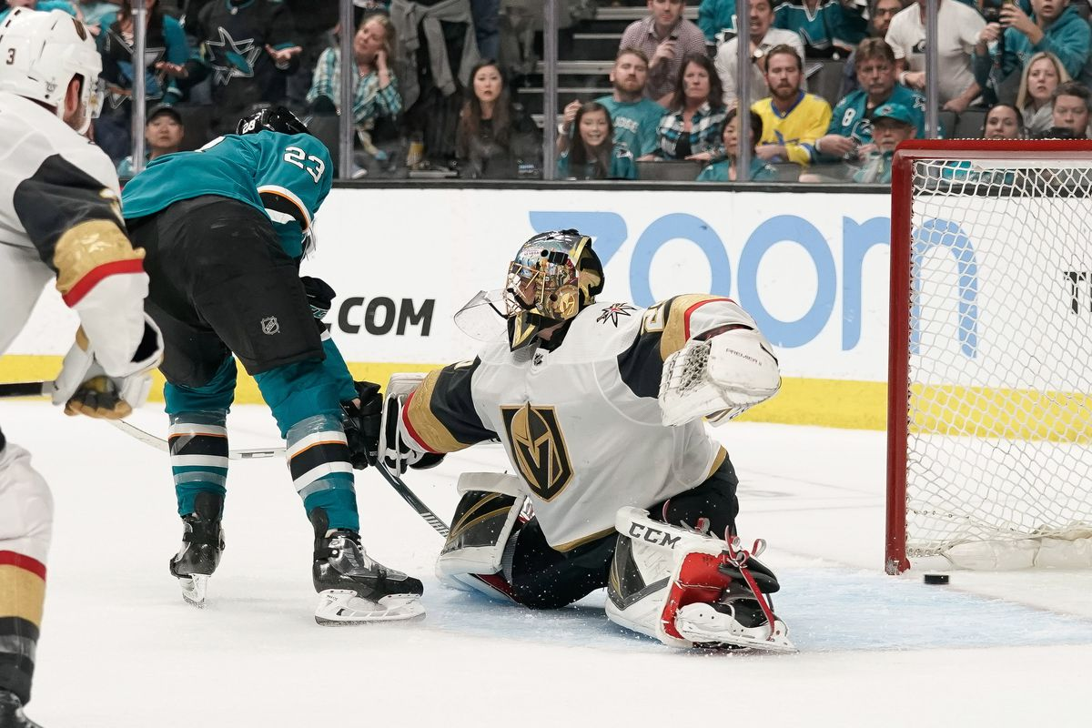 Barclay Goodrow scores past Marc-Andre Fleury as the San Jose Sharks beat the Las Vegas Knights in Game 7 of their 2019 NHL Stanley Cup playoff series