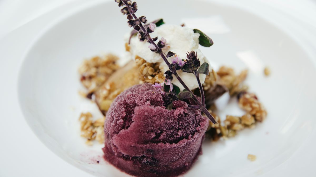 Jamaican sorrell drink black pepper sorbet with roasted pear and benne seed granola