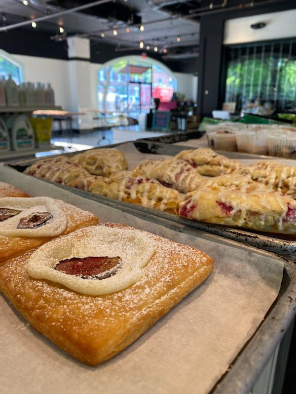 Cream cheese fig danishes and raspberry peach scones from Mae's Market and Cafe