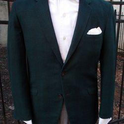 1960s Golden Emblem two-button green and blue plaid woolen jacket ($68, size 40).