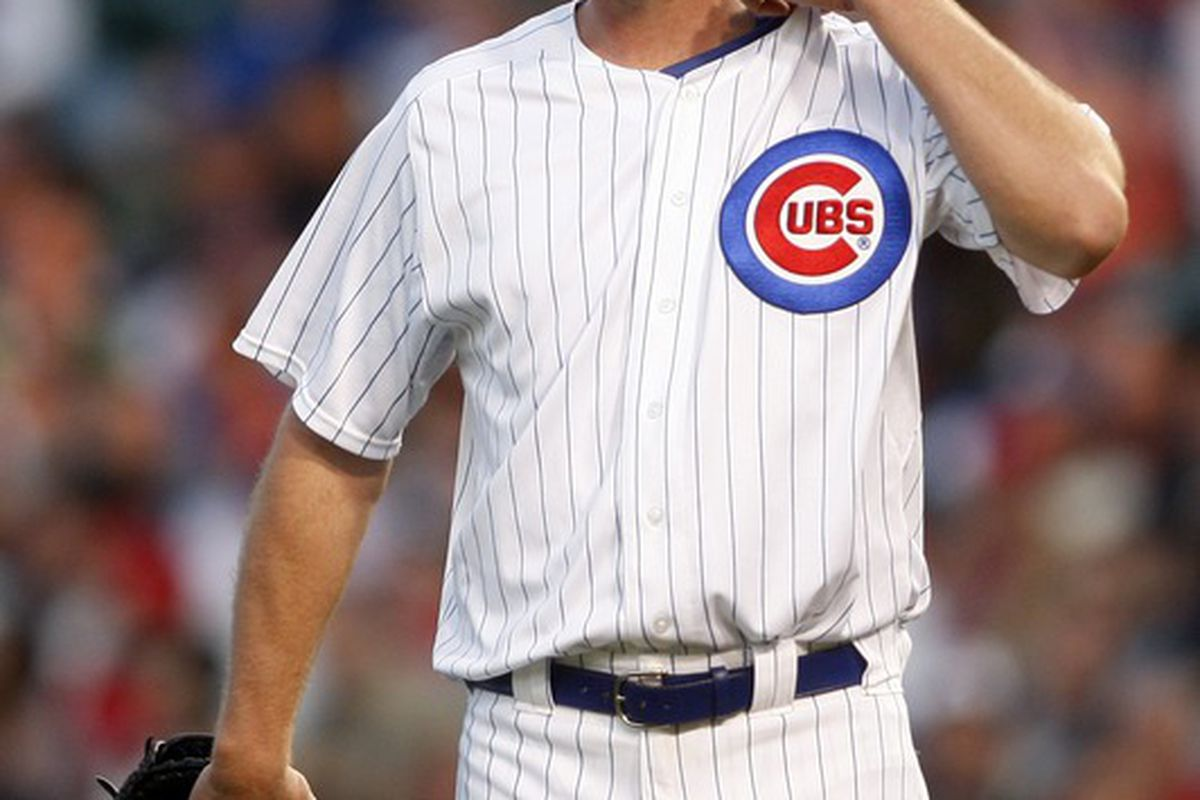 Chicago, IL, USA; Chicago Cubs starting pitcher Chris Volstad reacts against the Philadelphia Phillies at Wrigley Field. Credit: Jerry Lai-US PRESSWIRE