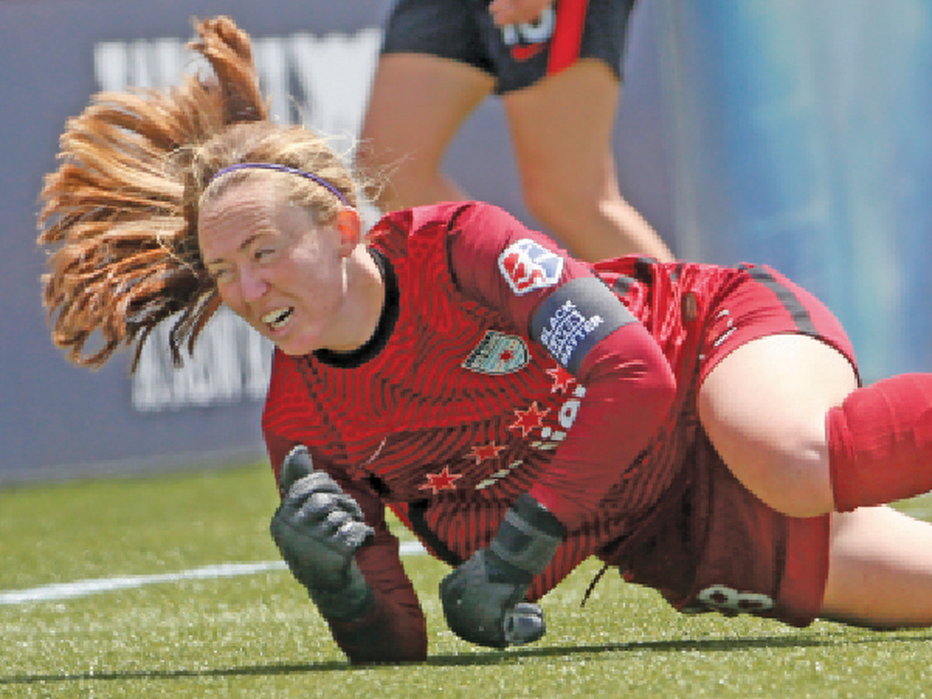 Cassie Miller was in goal for the Red Stars in the first two games of the 2021 Challenge Cup against the Houston Dash and Portland Thorns.