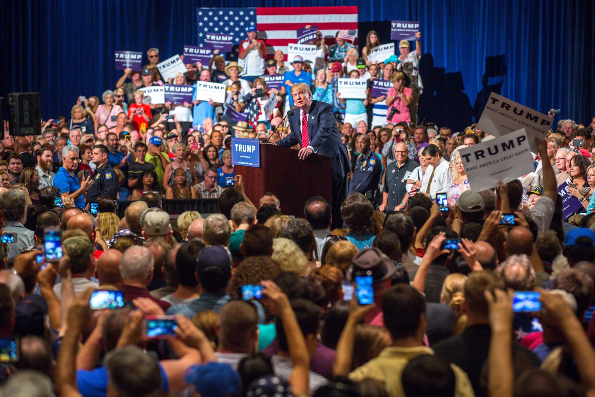 Donald Trump holds a rally in Arizona.