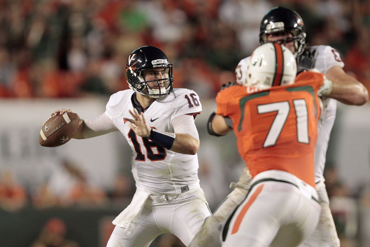 MIAMI, FL - OCTOBER 27: Michael Rocco #16 of the Virginia Cavaliers throws the ball against the Miami Hurricanes on October 27, 2011 at Sun Life Stadium in Miami, Florida. (Photo by Joel Auerbach/Getty Images)