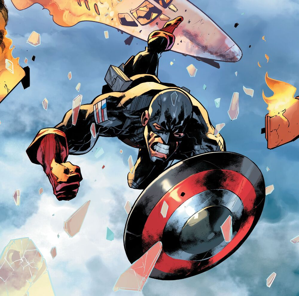 U.S.Agent dives into action shield-first in art from Force Works #1, Marvel Comics (2020)