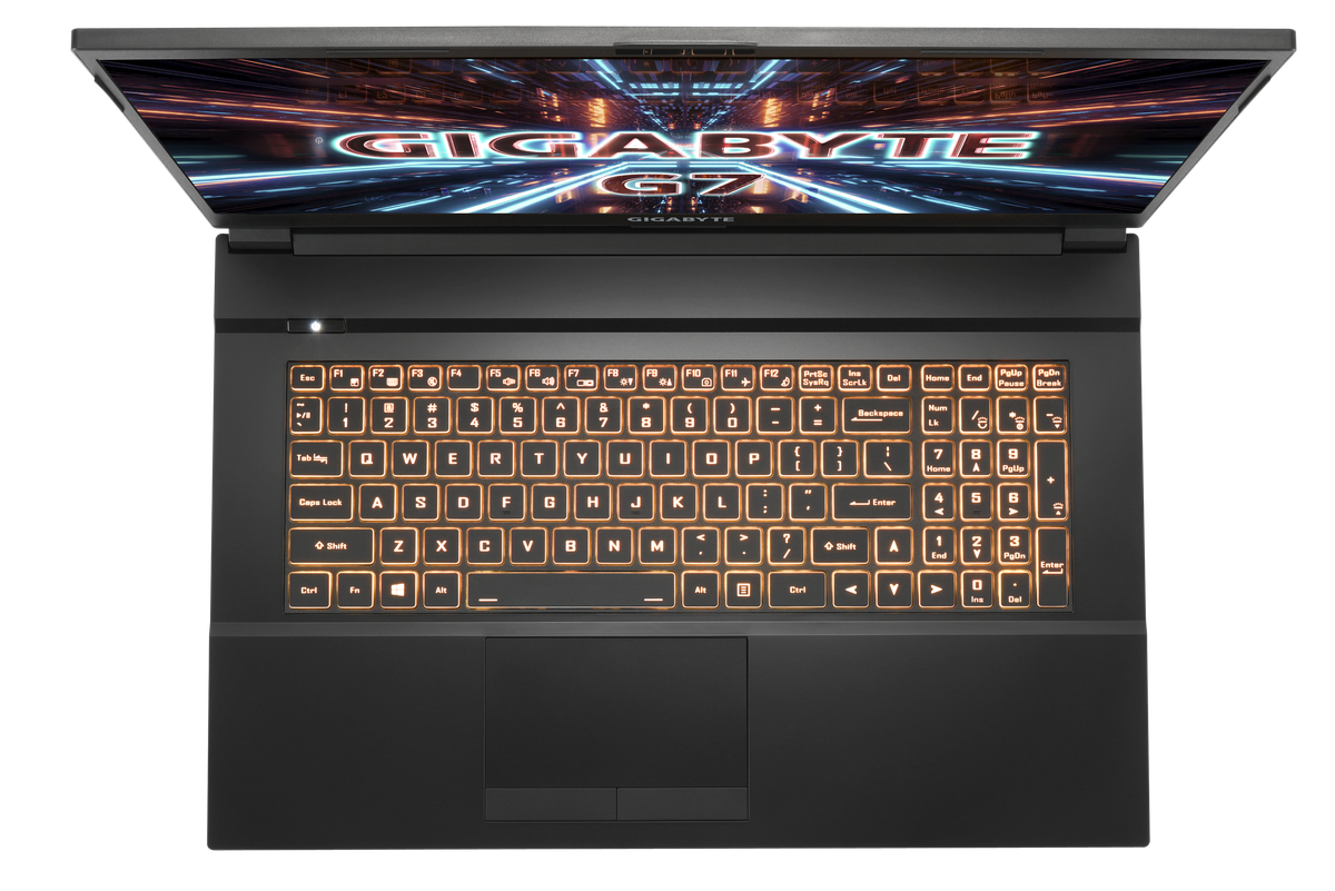 Gigabyte top-down G7 keyboard with orange backlight.