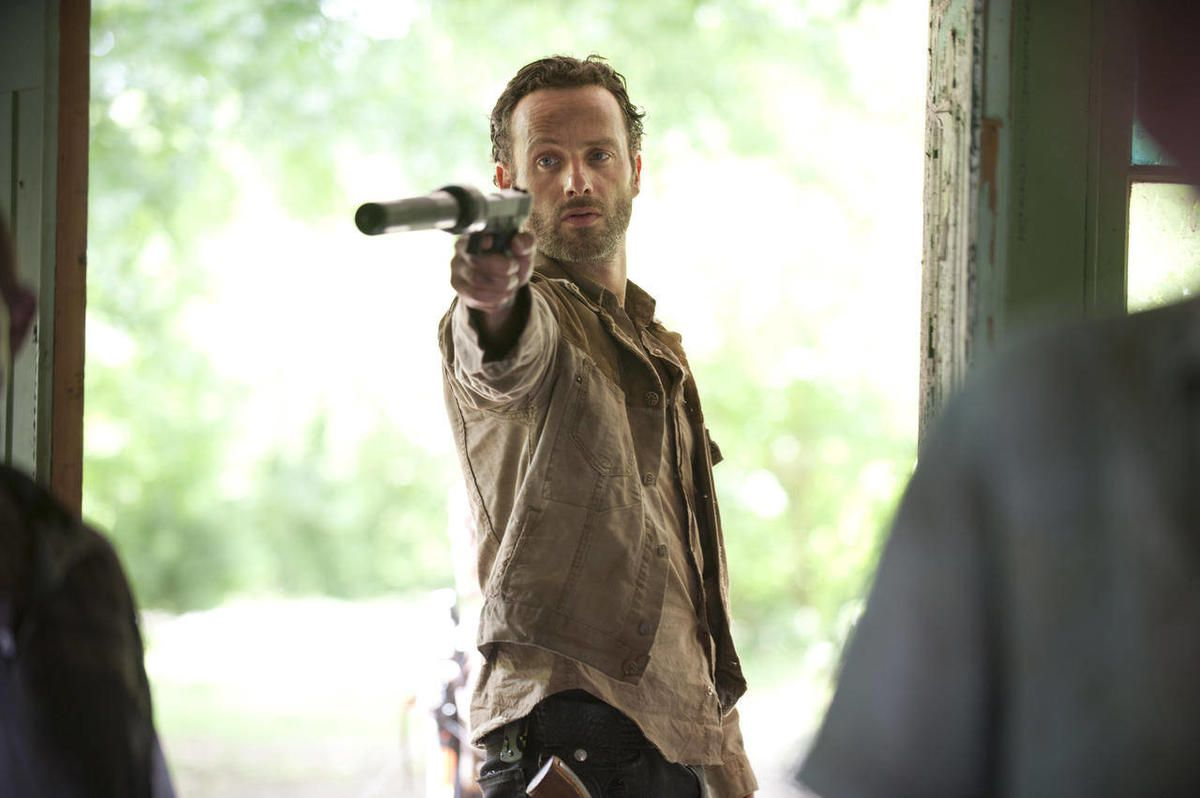 """In this publicity photo released by AMC, Andrew Lincoln as Rick Grimes is shown in a scene from """"The Walking Dead."""""""