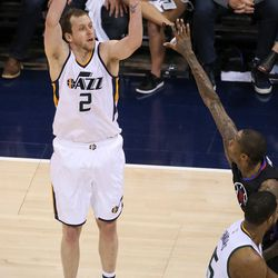 Utah Jazz forward Joe Ingles (2) puts up a shot during the NBA playoffs game 3 between the Jazz and Clippers at Vivint Smart Home Arena in Salt Lake City on Friday, April 21, 2017.